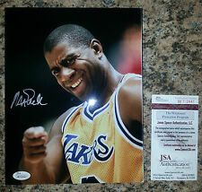 MAGIC JOHNSON 'LOS ANGELES LAKERS' HOF 2002 SIGNED 8X10 PICTURE *COA JSA AUTH 2