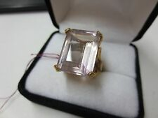 Vintage 14KT Solid Yellow Gold Large Emerald Cut Rose De France Gemstone Ring