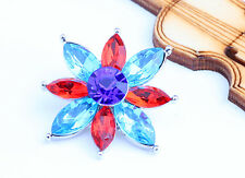 new Handmade rainbow rhinestone flower chunk snap button fit 18mm bracelet j3310