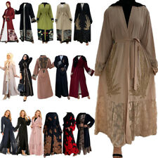 Dubai Cardigan Muslim Women Open Arab Long Dress Islamic Abaya Kaftan Maxi Robe