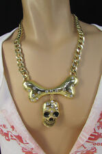 New Men Necklace Fashion Gold Metal Chains Big Skull Bone Pendant Rhinestones