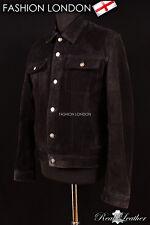 Men's Trucker Leather Jacket Black Suede Classic Western Leather Shirt Jacket