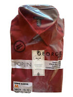 George Mens Red Long Sleeve Dress Shirt Sz M Neck 15-15 1/2  NEW in Package