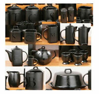 Black Text Ceramic Tea Coffee Sugar Salt Pepper Utensil Biscuit Tea Pot Jar Set