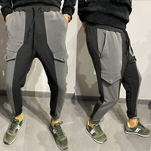 Pantaloni tuta uomo Cargo Nero con elastico Casual tasche laterali cavallo basso