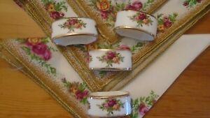 Royal Albert old country rose Set of  4  Napkins  + 4 Napkin Rings