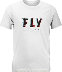 Fly Racing Fly Boys Glitch T-Shirt (Large, White)