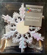 6 x White Snowflake 15cm Glitter Christmas Tree Hanging Decoration FREE P&P
