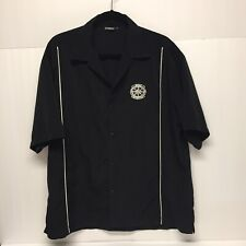 Yamaha Mens Shirt L Collared S/SButton Black Embroidered Patch Logo/Collectible