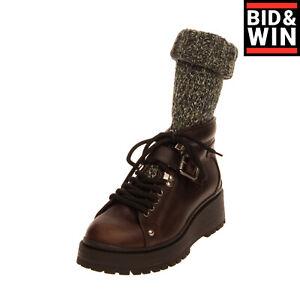 RRP €945 MIU MIU Leather Sock Like Combat Boots Size 39 UK 6 US 9 Lug Sole