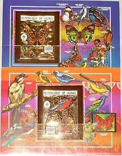 GUINEA 1990 Block 361-362 B Birds Butterflies Schmetterlinge Vögel GOLD Foil MNH