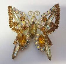 Vintage Juliana Butterfly Insect Multicolor Aurora B Rhinestone Pin Brooch