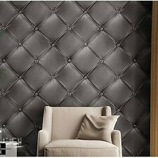 Textured Wallpaper 3D Leather Look Modern Wall Paper Mural Pattern Tufted Roll