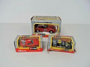 Bundle of 3 x Burago Porsche 924/928/928 Gr 1/43 - 1/25 Diecasts  B62