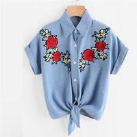 Mode Femmes Chemisier Fleur Rose Chemise Manche Courte Jeans Bouton Haut T-Shirt
