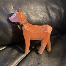 Carved Teak Wooden Goat Figurine. Really Cute!