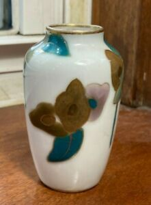 Miniature French France Limoge Vase with Stylized Flowers Semovices 1930s