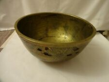 More details for antique chinese cast heavy brass/bronze bowl with samorai warriors mark on base