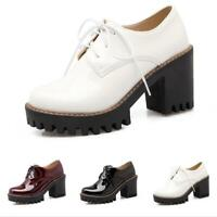 Women's College Chunky Heel Lace Up Office Work Pumps Casual Platform Shoes US D