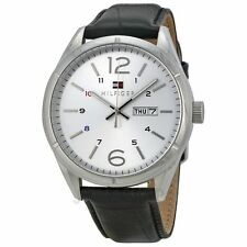 New Tommy Hilfiger Silver Black Leather Day Date Men Watch 45mm 1791060 $125