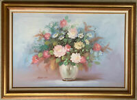 ROBERT COX Original LARGE Still Life Floral Oil Painting Signed Framed