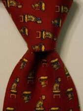 SALVATORE FERRAGAMO Men's Silk Necktie ITALY Luxury Animal TIGERS Burgundy GUC