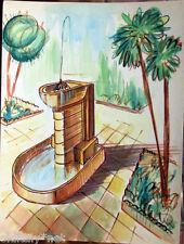 Acquerello '900 su carta Watercolor Architettura futurista cubista razionale-31