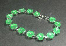 White Gold Plated Green Jade Imitation Diamond Peace Buckle Coin Bangle Bracelet
