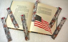 BOOKMARKS~JULY 4TH~PATRIOTIC~Set 2~Fabric~Reversible~Washable~Designs Vary~NEW