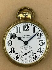 ILLINOIS 60 Hour 23 Jewel Bunn Special 14K gold Filled case Pocket Watch - RARE