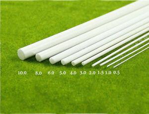 2 pcs ABS Styrene Plastic Round Bar Rods Diameter 0.5 to 10mm *250mm White