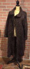 Vtg  Beautiful Handknit Fuzzy Brown Fleck Mohair Cardigan Long Sweater Coat L