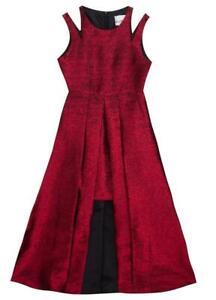 "NEW Rare Editions Girls Size 6 ""RUBY RED IRIDESCENT"" Step-Through Metallic Dress"