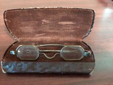 (A) Early Odd Shape Spectacles Gold Tone Hexagonal Eye Glasses Steampunk 1800's