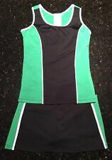 NWT Tennis Outfit Skirt Skort & Tank Top w/ build in bra Peachy Tan Black Green