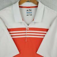 ADIDAS CLIMACOOL Size 2XL Mens White Orange Golf Casual Polo Shirt Stretchy XXL
