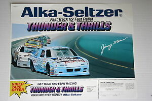 NASCAR JIMMY MEANS ALKA SELTZER RACING POSTER LATE 80'S RARE 20 X 28