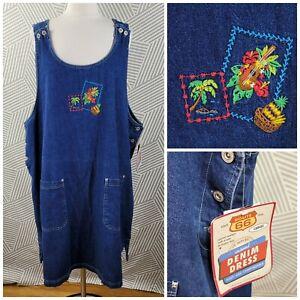 Vintage New Denim Size 3X 22/24 Dress Blue Jean jumper Overall Tropical Hawaii
