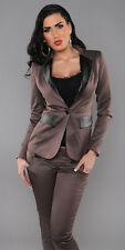 BROWN SATIN BLAZER WITH LEATHERLOOK DETAILS OFFICE WEAR BUSINESS LOOK SIZE 14 FI