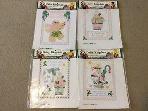 4 Vtg Bucilla Daisy Kingdom Stamped Cross Stitch Christmas Samplers Bear Bunny
