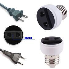 E27 Lamp Socket Screw Bulb Outlet Convert To US/EU Plug Lighting Fixture White