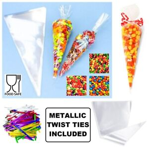 Cellophane Cone Sweet Bags Clear Plastic Cello Small Large Party Gift Twist Ties