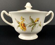 Vintage Yellow Daisy China Sugar Bowl USA