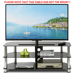 25-55'' TV Stand Table Unit with Swivel Mount Bracket Cantilever Tempered Glass