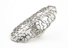 """One New 2.5"""" Long Filigree Knuckle Stretch Ring With Crystals #R1233"""