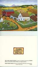 VINTAGE WHITE FARM HOUSE RED BARN SPRING VEGETABLE FLOWER GARDENS FOLK ART CARD