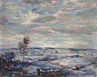 Allwardt Rudolf *1902 Malchin Winterabend in Mecklenburg 28 x 35 cm Norddeutsch