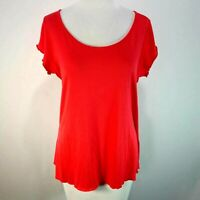 PRANA Red M Medium Knit Top Twist Back Cap Sleeve Scoop Neck T-Shirt High Low
