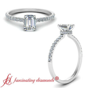 Under Halo White Gold Engagement Ring With 1.25 Carat Emerald Cut Diamond Center