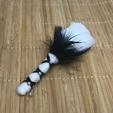 White Rose Bud Boutonniere Black Marabou feather Wedding